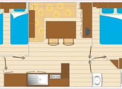 Mobil home GRAND CONFORT 2 chambres 6 personnes plan