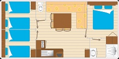 Mobil home GRAND CONFORT 3 chambres 6 personnes plan
