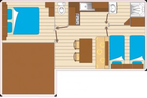 Mobil home GRAND CONFORT 2 chambres 7 personnes plan