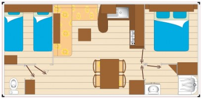 Mobil home CLASSIC 2 chambres 6 personnes plan